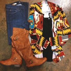 Aztec printed cardigan, back studded boots, & our diana skinnies. #ootd www.hardtboutique.com