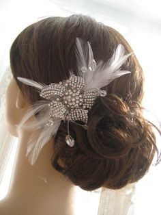 Rhinestone Lily Bridal Hair Fascinator Accessory with Feathers - VERA. $125.00, via Etsy.