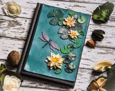 Water Lilly polymer clay notebook cover A6 size. Handmade notebook/ journal/ diary/ book. Polymer clay dragonfly. Spring floral journal