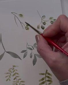 Watercolor Paintings For Beginners, Watercolor Art Lessons, Painting Lessons, Watercolour Painting, Watercolor Flowers Tutorial, Art Aquarelle, Arte Floral, Diy Canvas Art, Mix Media