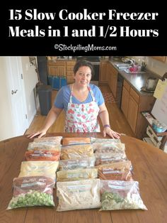 How to make 15 Slow Cooker Freezer Meals in 90 minutes for your family's dinners! Enjoy our 15 Slow Cooker Freezer Meals in 90 minutes meal plan. This plan will allow you to have dinner planned for almost three weeks! Chicken Freezer Meals, Slow Cooker Freezer Meals, Make Ahead Freezer Meals, Crockpot Dishes, Freezer Cooking, Slow Cooker Recipes, Easy Meals, Cooking Recipes, Freezer Recipes