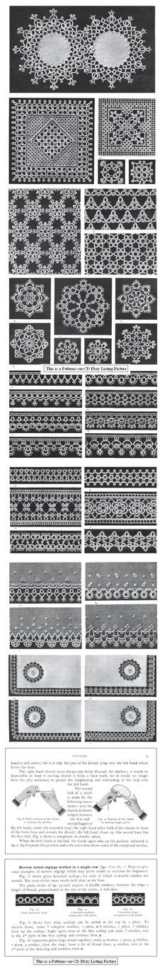 Patterns can be found at the Antique Pattern Library - D.M.C. Tatting, 1920