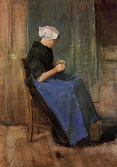 Young Scheveningen Woman Knitting by Vincent van Gogh #art
