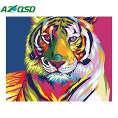 AZQSD Diy Oil Painting By Numbers Kits Colorful Tigers Art Picture Home Decor Acrylic Paint On Canvas For Artwork szyh6208 #Affiliate