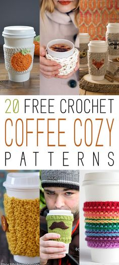 We know how much you LOVE Free Crochet Patterns…so today we have a great collection of 20 Free Crochet Coffee Cozy Patterns just waiting for you to make!!! They are perfect for all those Special Coffees and great for the mugs at home too. Who needs to burn their hands right! So keep your hands …