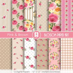 Shabby Chic Rose Digital Scrapbook Paper, Digital Papers, Cottage, Pink Brown Digital papers- 1726