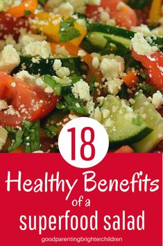 Here's a healthy summer salad created from the many veggies you grow in your garden. Packed with vitamins & minerals to build the body. Healthy Meals For Kids, Healthy Eating Recipes, Healthy Summer, Healthy Snacks, Summer Salad Recipes, Summer Salads, Brain Boosting Foods, Cucumber Benefits, Superfood Salad
