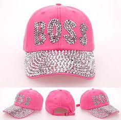 2014 moda punta de diamante cartas de BOSS vaquero denim rosa caps mujeres gorra de béisbol del sombrero niñas rhinestone de impresión 5 unids/lote(China (Mainland))