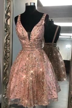 May 2020 - Buy Unique V Neck Pink Beads Backless Homecoming Dresses Short Prom Dresses online.Shop short long ombre prom, homecoming, bridesmaid evening dresses at Couture Candy Cocktail party dresses, formal ball gowns in ombre colors. Rose Gold Homecoming Dress, Backless Homecoming Dresses, Mini Prom Dresses, Sweet 16 Dresses, Hoco Dresses, Elegant Dresses, Evening Dresses, Formal Dresses, Wedding Dresses
