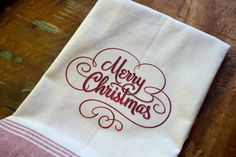 Merry Christmas Kitchen Towel by TheCallingBird on Etsy, $12.00