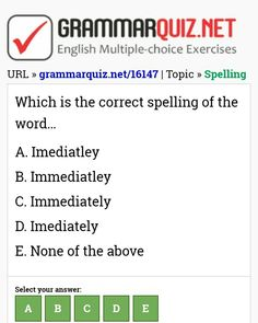 Which is the correct spelling of the word. English Grammar Quiz, English Grammar Exercises, English Quiz, English Course, English Language Learning, English Vocabulary, Learn English, Spelling, Ielts