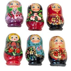 This is a set of 6 assorted fridge magnets which are made in shape of a Russian matrioshka nesting doll. Each magnet is made of wood, than hand-painted and finished with glossy lacquer. It may be a good addition to collection of fridge magnets or suitable
