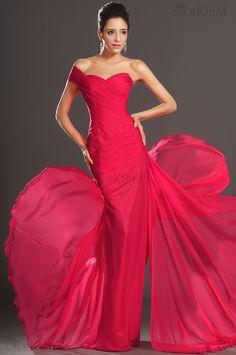 Chiffon Mittellang ärmellos Luxuriös Meerjungfrau Abendkleid