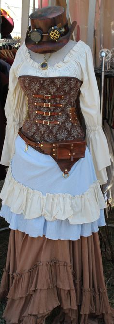 Custom Steampunk Brown and Light Blue Corset by SilverLeafCostumes