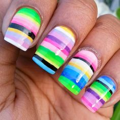 """Good morning lovlies!  Here is a close  up of my freehand colorful stripe design.  I was originally going for a  sarape look but ran out of time....I wasn't missing my steak & shrimp  fajitas!!! --------------------------------------------------  Tip:  dab a little cuticle oil on a thin brush before painting for smoother lines."" Photo taken by @tonyalaniece_art on Instagram, pinned via the InstaPin iOS App! http://www.instapinapp.com (05/07/2015)"