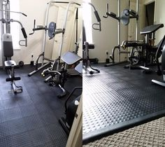 Home Gym Floor Over Carpet Staylock Bump Top Tiles - Home Gym Flooring Over Carpet. Staylock Tiles are one of the few options for home gym flooring that can be installed over carpet and support the weight of exercise equipment. Home Gym Set, Small Home Gyms, Gym Room At Home, Home Gym Decor, Best Home Gym, Home Gym Basement, Home Gym Garage, Basement Ideas, Basement Workout Room