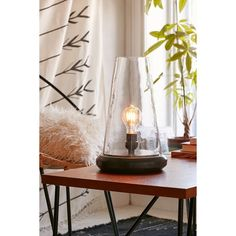 Cone Cloche Lamp ($135) ❤ liked on Polyvore featuring home, lighting, photos, black, black lamp, black lights, cone lamp and onyx lamp