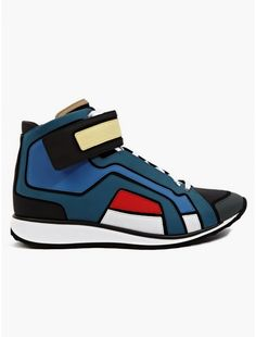 Men's Contrasting Matte Leather Hi-Top Sneakers