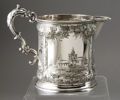 Coin Silver W. I. Tenney - NY 19C Repousee Pitcher