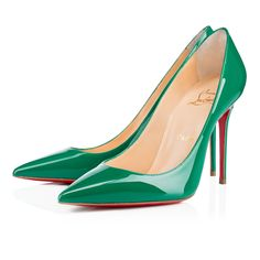 """""""Decollete 554"""" stands out for her long pointed toe and superfine stiletto heel.  Whether you're dashing off to a daytime meeting or evening date, this 100mm version in lovely mint patent leather provides a chic and sexy look for the woman on the move."""