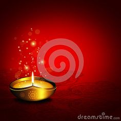 Oil lamp with place for diwali greetings over dark red background