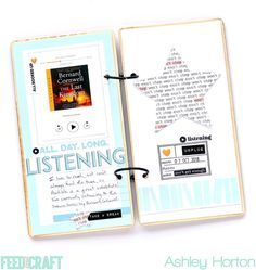 Listening layout by Ashley Horton (FYC Bingeable TN paper pack and stamp) Diy Mini Album, Mini Albums, Notebook Paper, Album Book, December Daily, Crafty Projects, Mini Books, Travelers Notebook, Special Guest