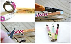 Utilidades pinzas decoradas washi tape