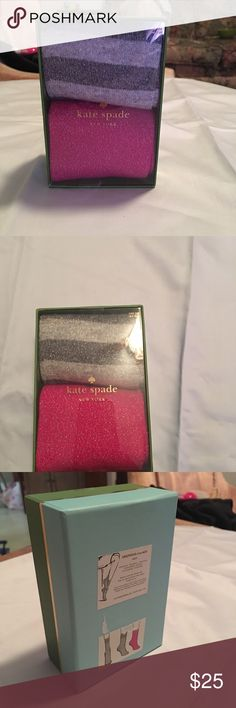 Kate spade stockings set Brand new box, Kate spade stocking/hosiery set. They are pink and grey stripes with silver going through the material. Really pretty set! kate spade Accessories Hosiery & Socks