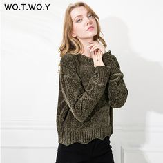 WOTWOY Autumn Ladies Sweaters Knitwear Women Pullovers Sweater Long Sleeve Elastic Wavy Hem Solid 2017 Women Winter Tops Soft *** AliExpress Affiliate's buyable pin. Click the image to visit www.aliexpress.com