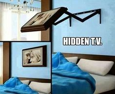 Hidden tv in a picture frame.