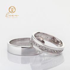 Verighete din aur alb cu diamante ESV33