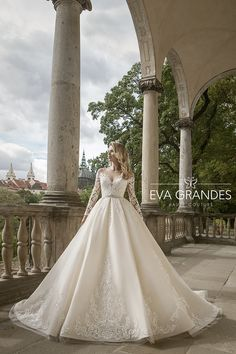 """Gorgeous Embroidered Ivory A-Lane Princess Wedding Dress / Bridal Ball Gown with Long Sleeves and a Train. Collection """"Luxury"""" by Eva Grandes A Line Bridal Gowns, Elegant Wedding Gowns, Amazing Wedding Dress, Wedding Dress Styles, Bridal Dresses, Drop Waist Wedding Dress, Applique Wedding Dress, Boho Wedding Dress, Gown Wedding"""