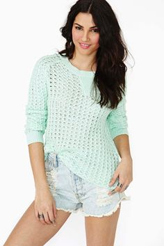 Easy Breezy Knit  perfect mint sweater