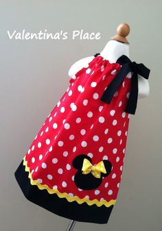 Minnie Mouse in Red & Yellow pillowcase dress. $27.00, via Etsy.