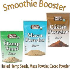 Add a Boost to your smoothie with this combination of Foods Alive Raw Super Foods!  This Smoothie Boost Pack includes one of each of the following: Raw Hulled Hemp Seeds, Raw Maca Powder, Raw Cacao Powder http://www.foodsalive.com/Smoothie-Boost-Pack-p/vp-smoothie-boost.htm
