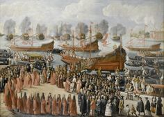 Joseph Heinz (Venice c. 1600 – c. 1690 Venice), The Embarkation of Doge Francesco Morosini. Oil on canvas – 48 13/16 x 69 3/16 in. (122 x 173 cm.). William Thuillier @ Master Paintings Week 2014.
