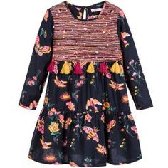 This navy blue Billieblush dress, with its pretty pink and yellow floral print, is a lovely addition to a girl's wardrobe for cooler days. The bodice has an extra layer of colourful stitched thread, made even prettier with little mirror-like appliqués and tassels. Made in lightweight viscose, it drapes beautifully and is soft against the skin.