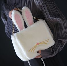 Tips: *Please double check above size and consider your measurement Beige bunny ear plush bag Cute Purses, Purses And Bags, Hard Sided Luggage, Looks Kawaii, Kawaii Bags, Diy Crafts For Girls, Novelty Bags, Kawaii Jewelry, Cute Backpacks
