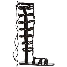 RAYE Shanna Gladiator Sandal ($90) ❤ liked on Polyvore featuring shoes, sandals, eleanor, lace up shoes, studded shoes, greek sandals, gladiator sandals shoes and lace up flat shoes