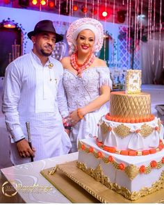 Image may contain: 2 people, people standing Nigerian Wedding Dresses Traditional, Traditional Wedding Attire, African Traditional Dresses, Traditional Weddings, Traditional Clothes, Nigerian Outfits, Nigerian Bride, Nigerian Weddings, African Wedding Cakes