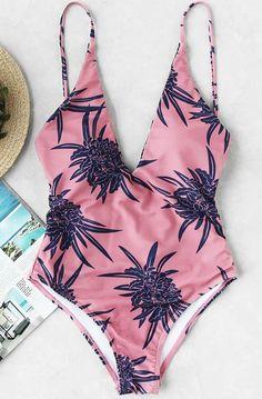 Calico Print Plunge Neckline Swimsuit