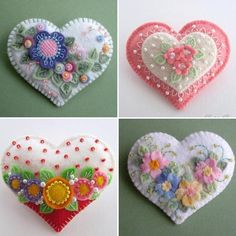 """Keçe kalpler...Pinterest'ten alıntıdır...""""Hearts""""...#keçe#felt#kalp#heart#elişi#handmade#küçükşeyler #küçükmutluluklar #pinterest #"""