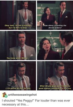 """I'm not a scientist, but I'm here to help"" - Jack, Peggy and Jarvis #AgentCarter"