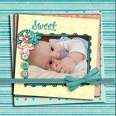 Wishful Digital Scrapbook Kit in Lovely Turquoise Blue,  Pink & Yellow -  Buy 2 Get 1 Free.via Etsy.
