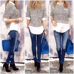 Zara shirt, 31PhillipLim knit top, Rag_Bone jeans, #Louboutin boots and #Hermès #Birkin 35 in Mykonos. - @upcloseandstylish