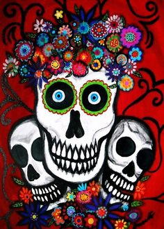 Signed PRINT Day of the Dead PRISTINE Skulls Painting Folk Art Flowers PRISARTS