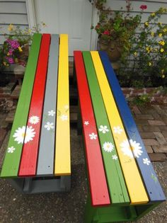 Top of painted garden benches