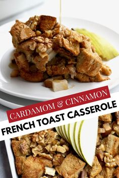 Bake this delicious french toast casserole spiced with cinnamon and cardamom for your family this fall! Breakfast casseroles are a super quick and easy recipe idea for brunch, holidays, and weekends. Dig into this french toast casserole stuffed full of walnuts, pears, and whole wheat bread! For those wondering how to make french toast casserole, we walk you through how to make this easy but not overnight recipe. Pears and cardamom make a perfect pairing and are a unique alternative to apples! Autumn Recipes Vegetarian, Fall Dinner Recipes, Fall Recipes, Make French Toast, Cinnamon French Toast, Pear Recipes Breakfast, Baked French Toast Casserole, Baked Pears, Fall Breakfast