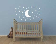 Star Decal Star and Moon Wall Decal Childrens di NewYorkVinyl Wall Stickers Stars, Baby Wall Decals, Childrens Wall Decals, Wall Stickers Quotes, Nursery Wall Decals, Always Kiss Me Goodnight, Kids Wall Decor, Wallpaper Decor, Big Girl Rooms