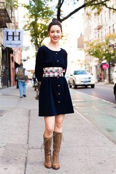 Lindsey's self-made plaid obi sash really makes her blue corduroy dress pop!  DUO54.com NYC Street Style